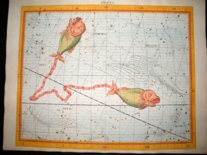 Flamsteed Atlas Coelestis 1781 LG Folio Hand Col Celestial Map. Pisces 10 Astrology